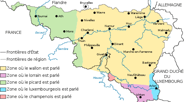 Carte de la Wallonie avec Gaume